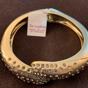 Lia Sophia satin gold crystal accent hinge bangle